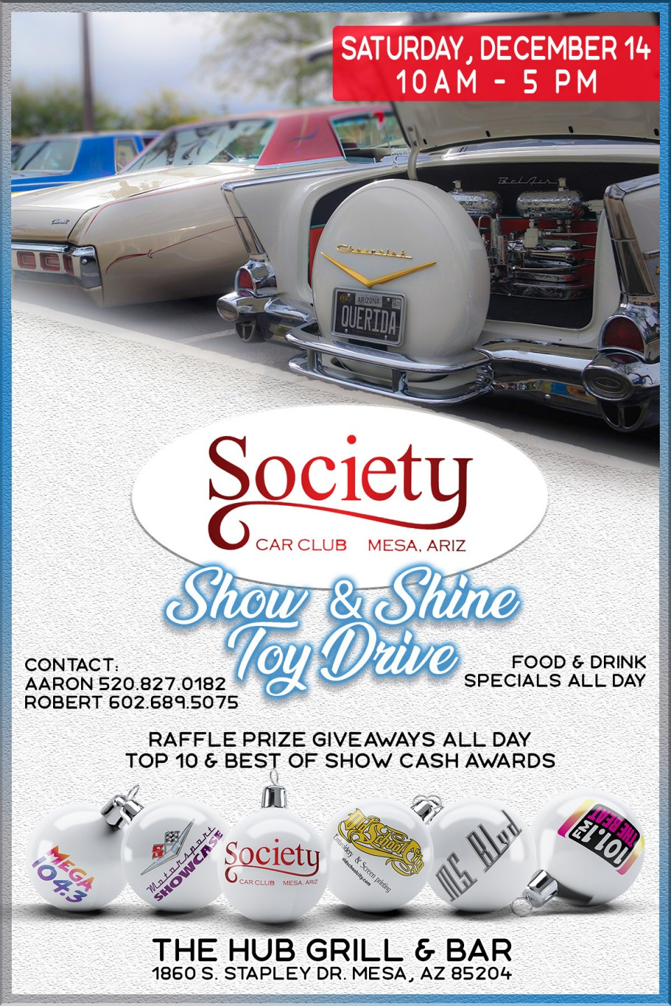 Society Car Club Show & Shine at The Hub in Mesa, AZ. December 14