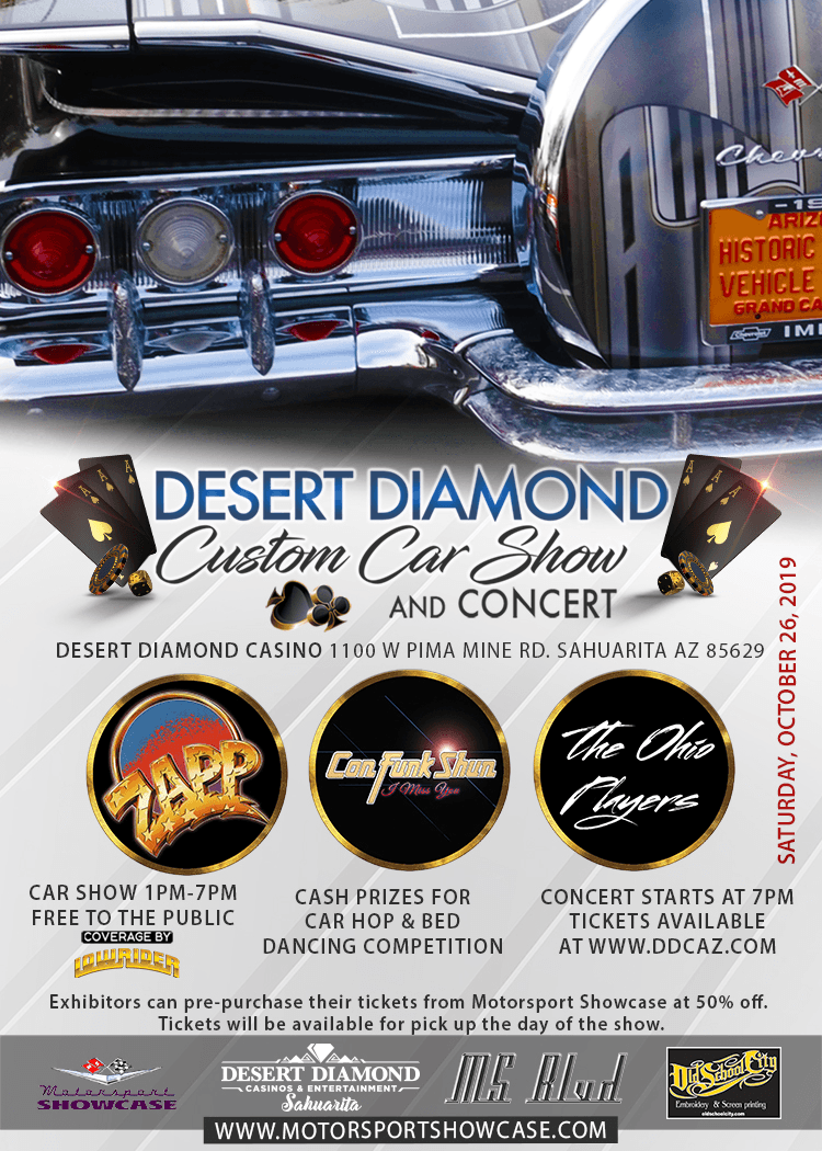 Concert lineup announcement for the 2019 Desert Diamond Car Show & Concert! ZAPP, Con Funk Shun & The Ohio Players. Get more info at https://motorsportshowcase.com/index.php/msblvd/events-calendar/viewevent/82-desert-diamond-custom-car-show-concert