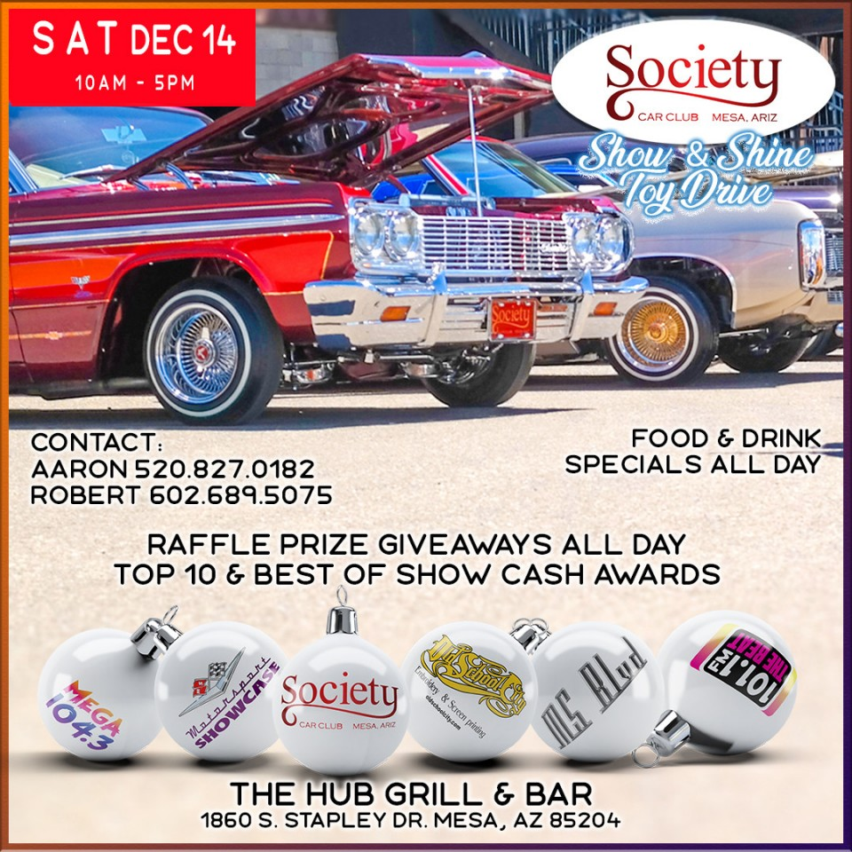 Up next...Society Car Club Show & Shine Toy Drive Saturday, December 14 Mesa, AZ. Get more info at https://motorsportshowcase.com/index.php/msblvd/events-calendar/viewevent/87-society-car-club-show-shine-toy-drive