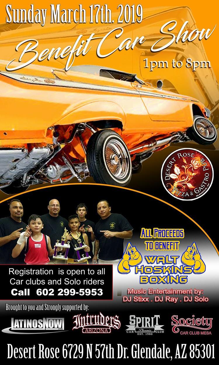 Benefit Fundraiser at Desert Rose in Glendale. https://motorsportshowcase.com/index.php/msblvd/events-calendar/viewevent/77-benefit-car-show